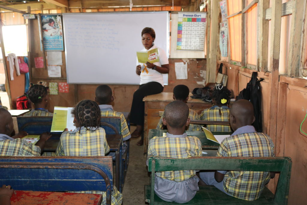 pupils at a school in Ikorodu, Nigeria receiving lessons about sickle cell